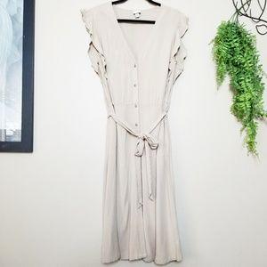 A New Day | Tan Buttoned Ruffle Sleeve Midi Dress